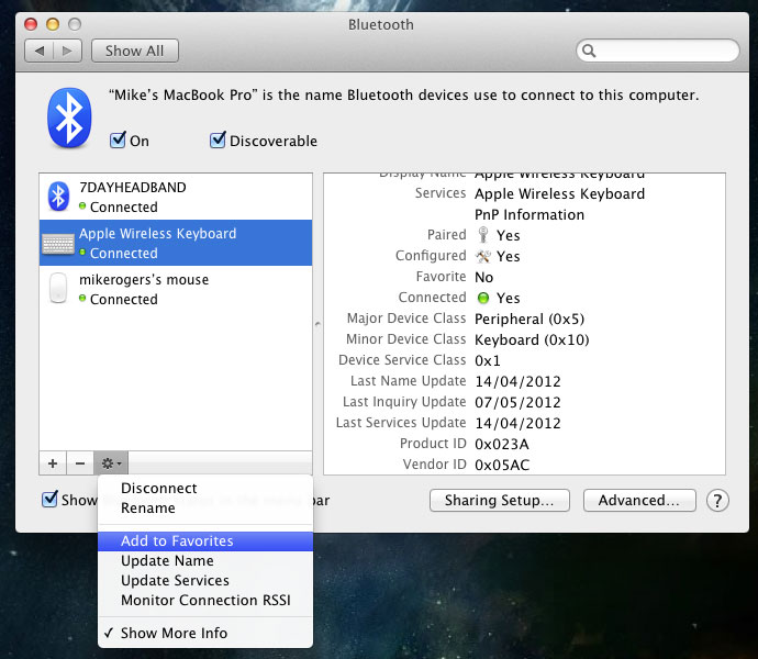 Screenshot of the bluetooth control panel in OSX